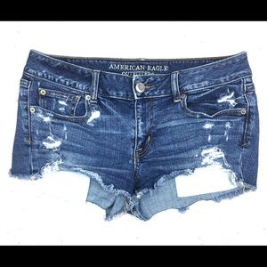 AEO Distressed Destroyed Jean Shorts Size 10